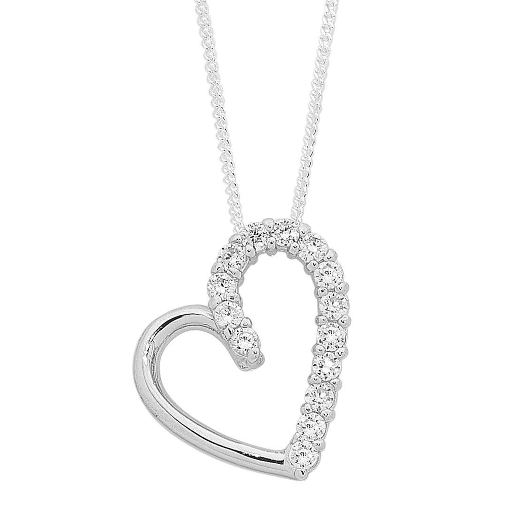 Sterling Silver and Cubic Zirconia Half Open Heart Curb Necklace