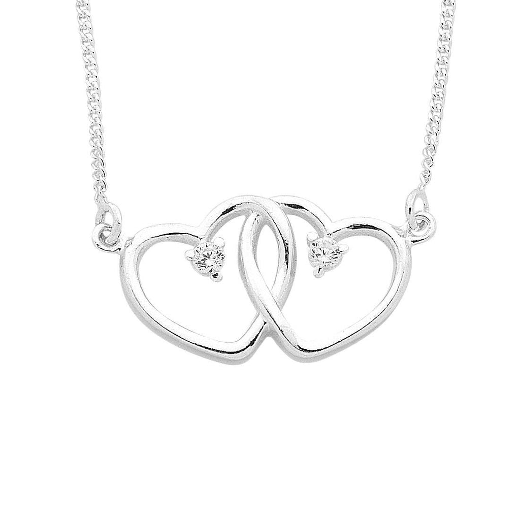 Sterling Silver Looped Double Heart Curb Necklace Necklaces Bevilles