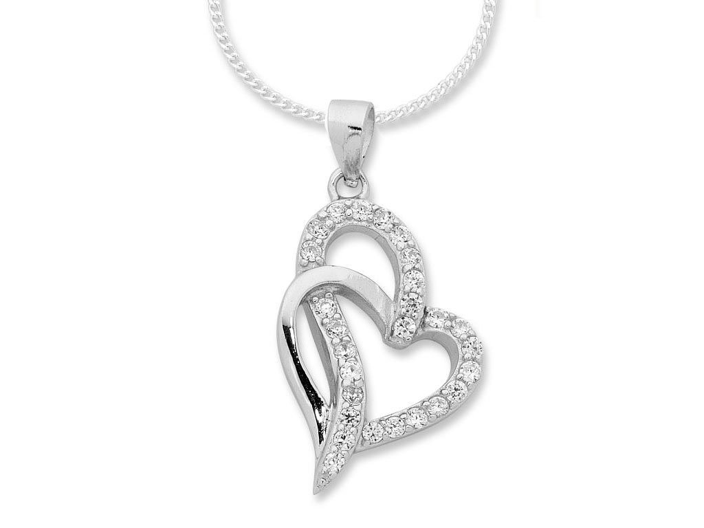 Sterling Silver Interlocking Heart Necklace
