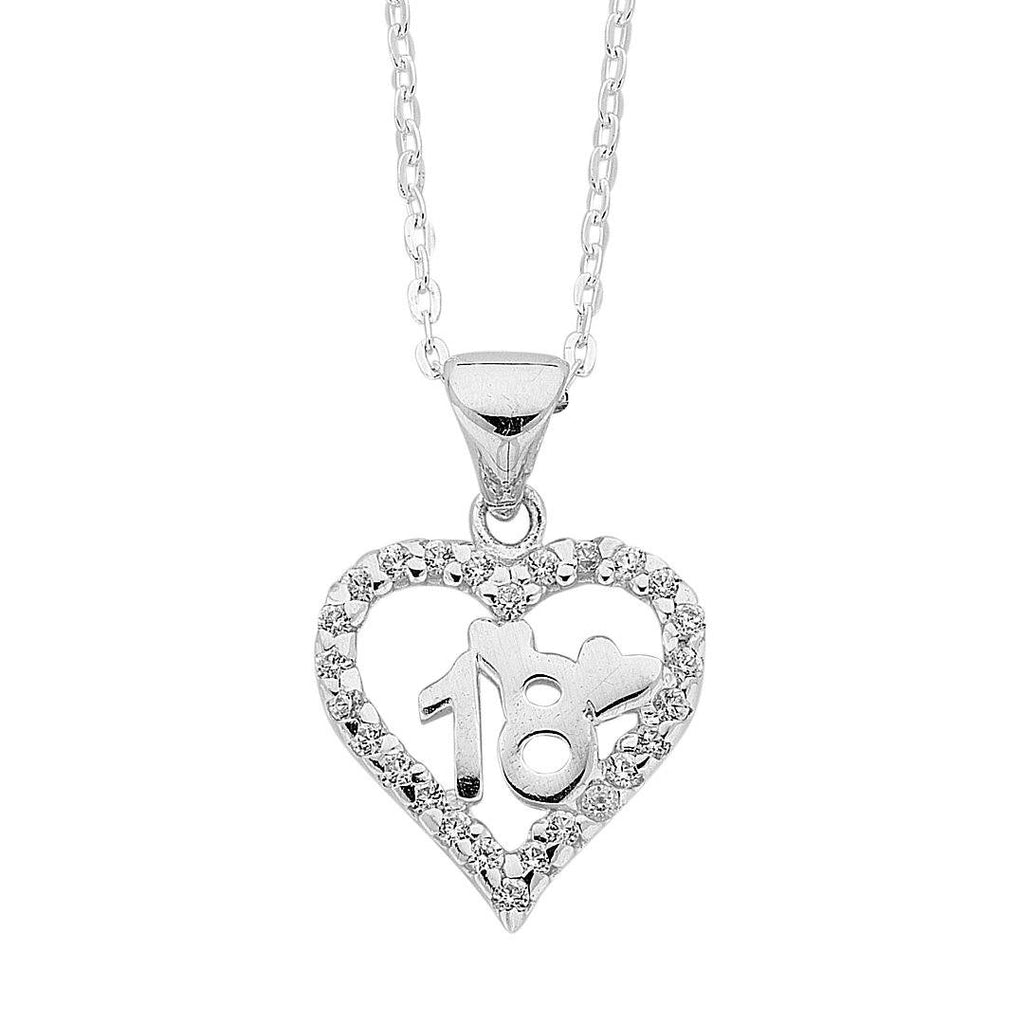 Sterling Silver 18th Birthday Heart Pendant Necklace with Cubic Zirconias