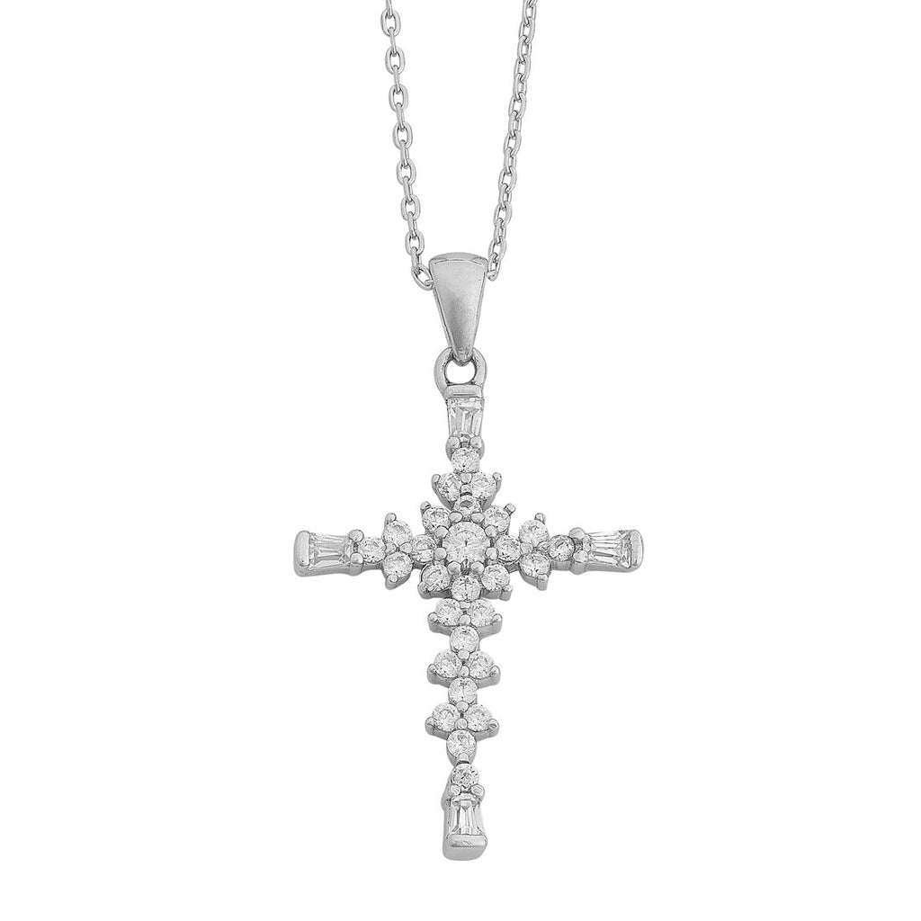 Cubic Zirconia Cross Necklace in Sterling Silver Necklaces Bevilles