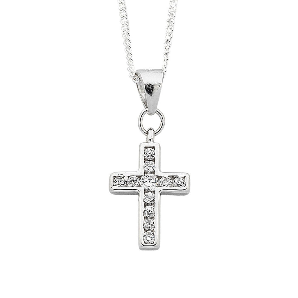 Sterling Silver White Cubic Zirconia Cross Pendant Necklace