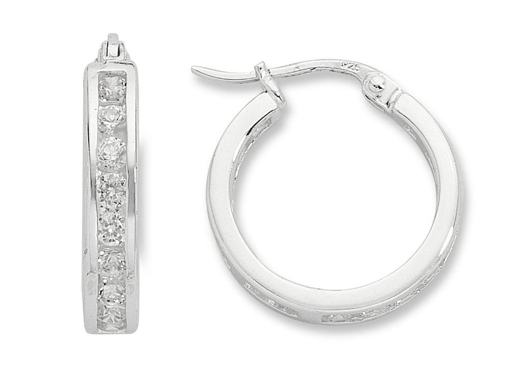 Sterling Silver Cubic Zirconia 15mm Hoop Earrings Earrings Bevilles