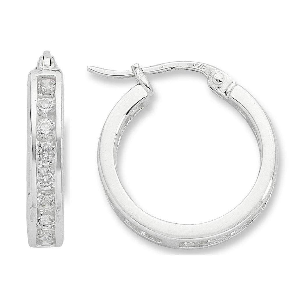 Channel Set Cubic Zirconia Hoop Earrings in Sterling Silver Earrings Bevilles