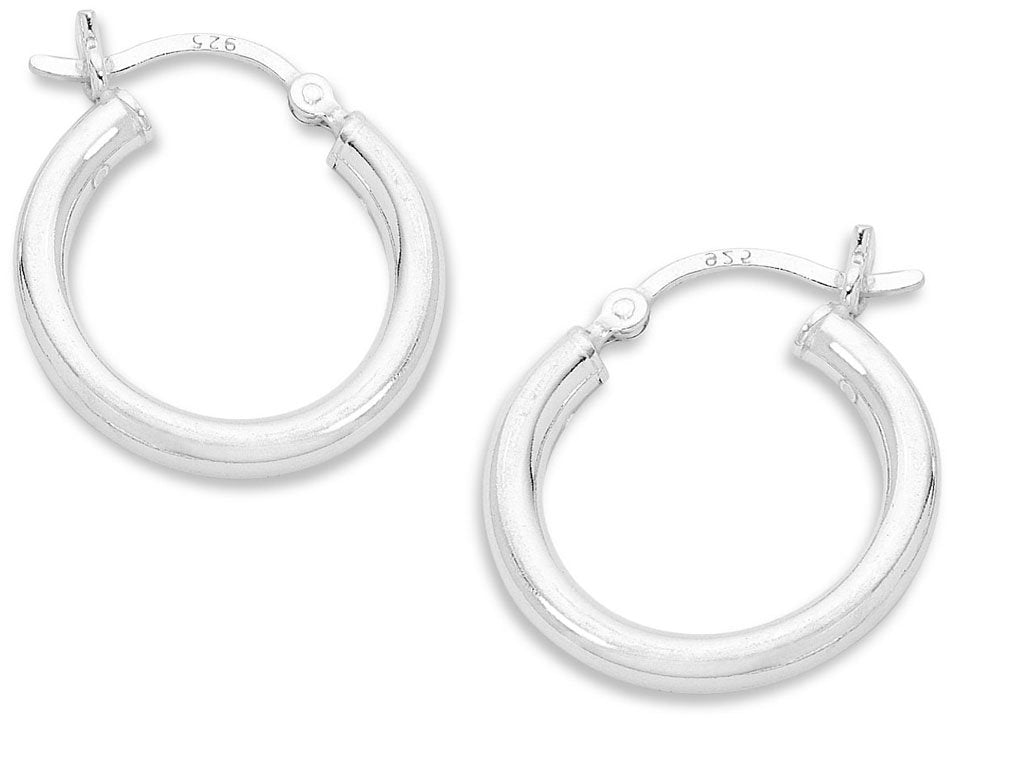Sterling Silver 20mm Plain Hoop Earrings Earrings Bevilles