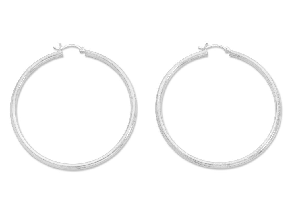 Sterling Silver 40mm Plain Hoop Earrings