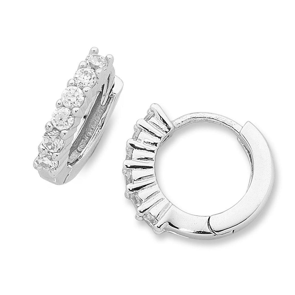 Sterling Silver Cubic Zirconia Hoop Earrings Earrings Bevilles