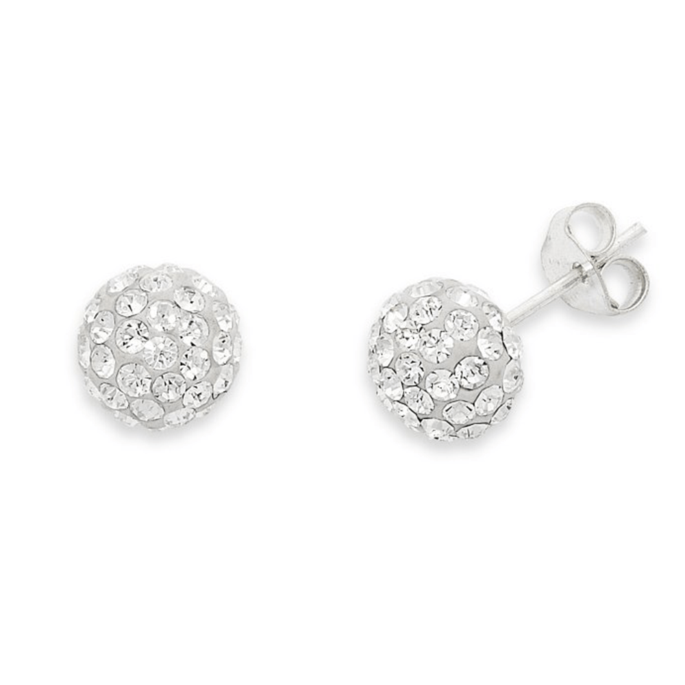 Sterling Silver 9.5mm Pave Crystal Ball Stud Earrings