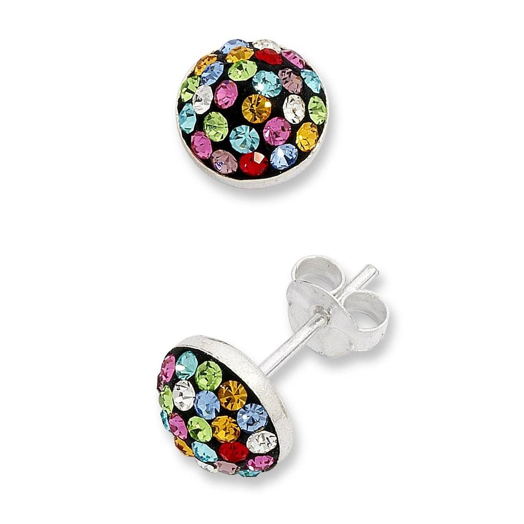 Sterling Silver Multi-Coloured Crystal Stud Earrings