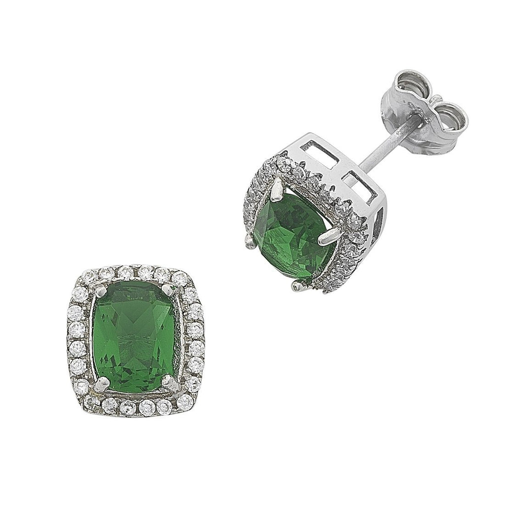 Emerald Green Cubic Zirconia Stud Earrings