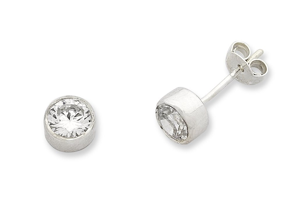 Sterling Silver 5mm Bezel Set Cubic Zirconia Stud Earrings