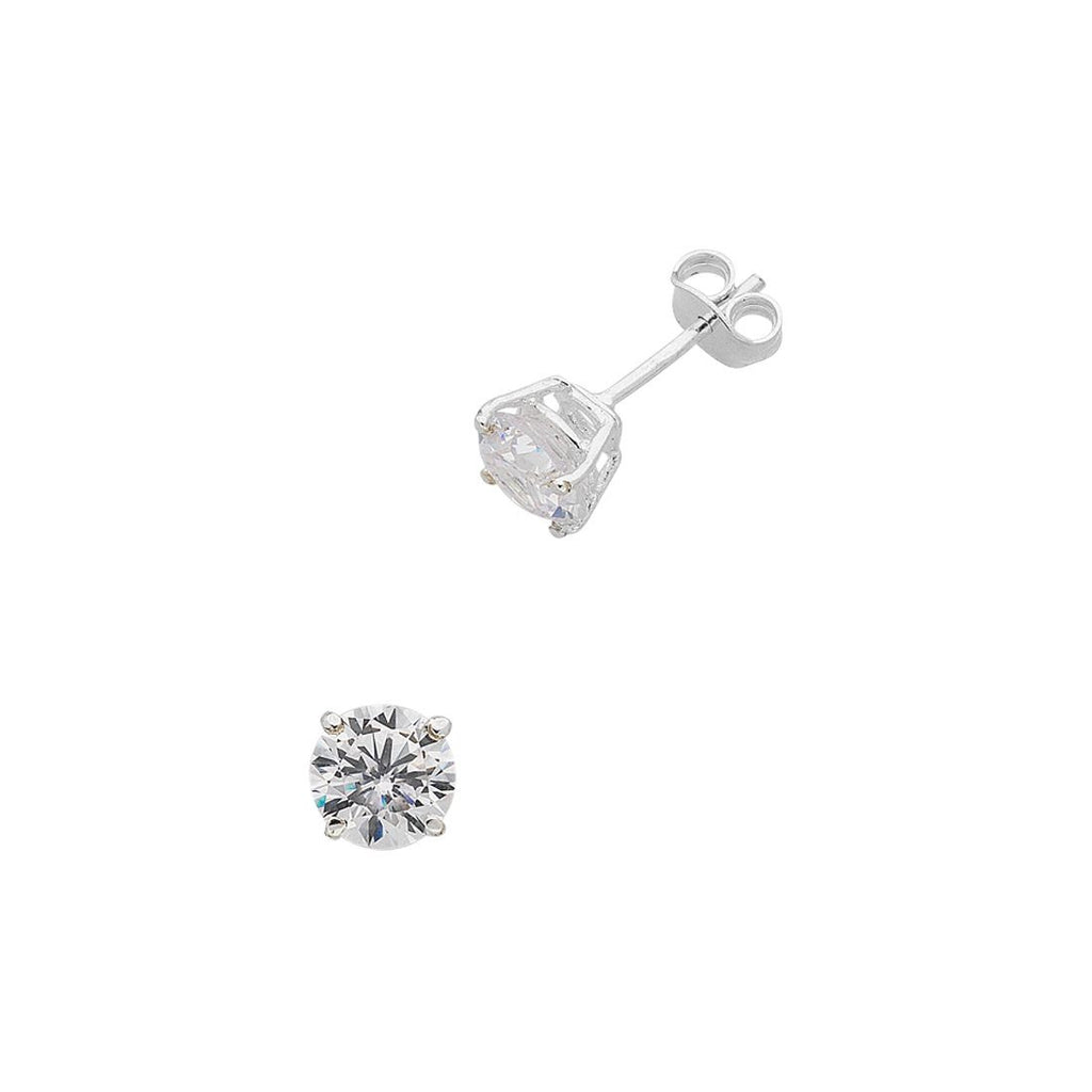 Sterling Silver 3mm Claw Set Cubic Zirconia Stud Earrings
