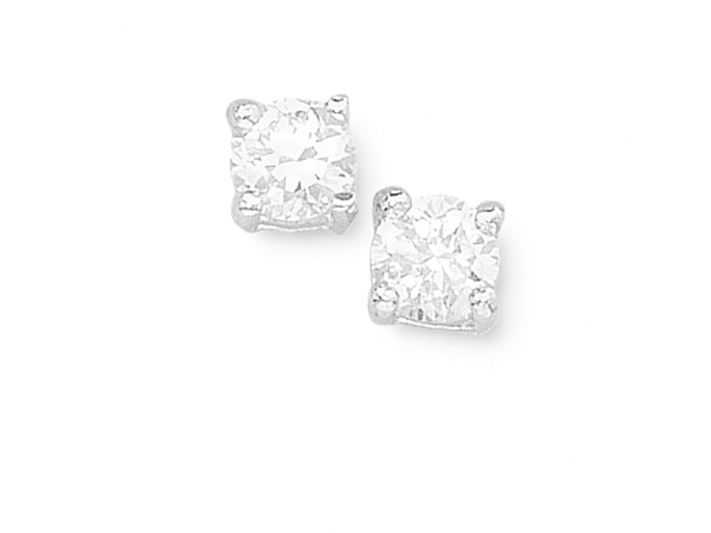 Sterling Silver 4mm Cubic Zirconia Earrings Earrings Bevilles