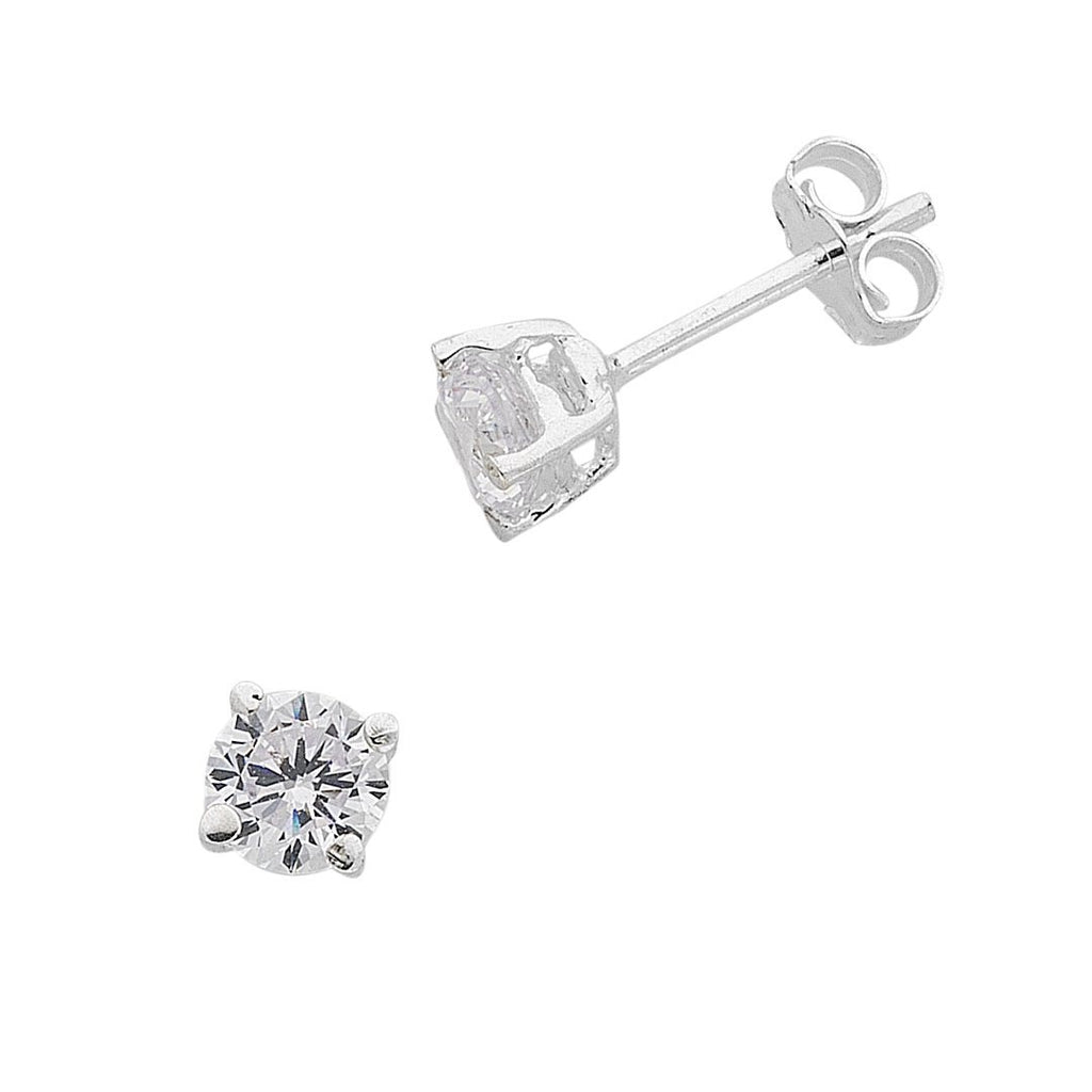 Sterling Silver 5mm Cubic Zirconia Earrings