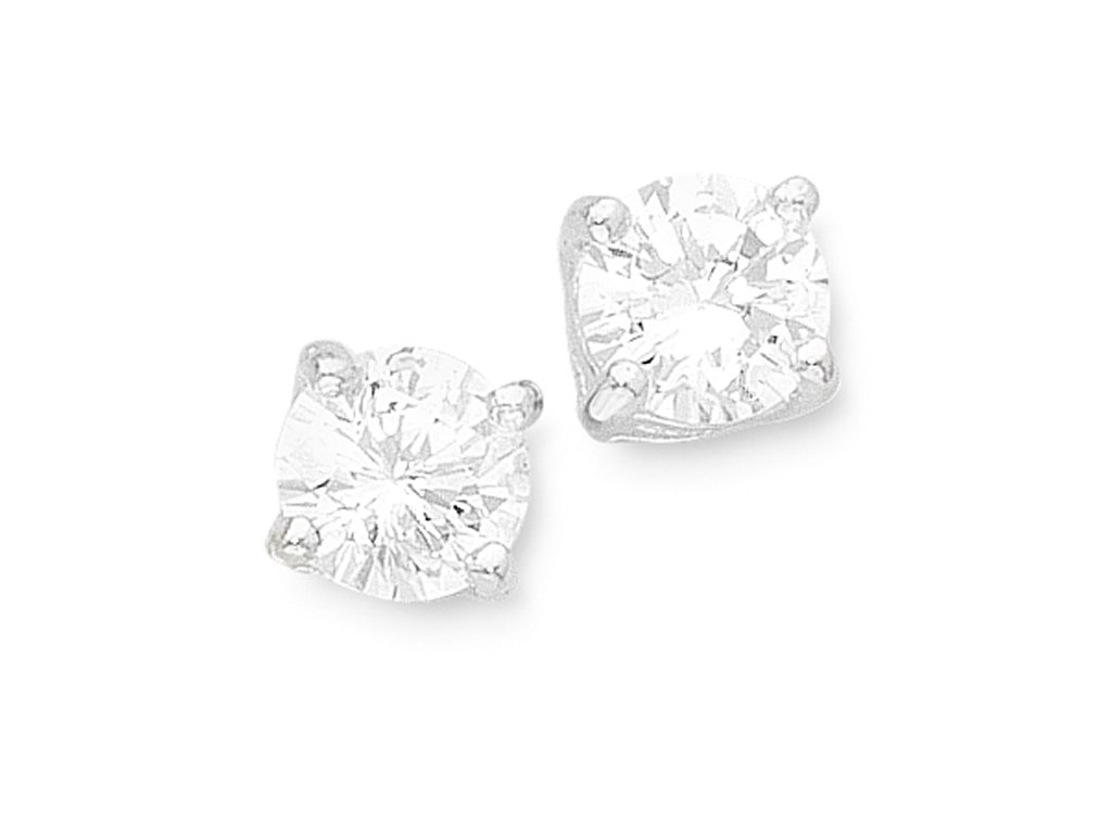 Sterling Silver 6mm Cubic Zirconia Stud Earrings Earrings Bevilles