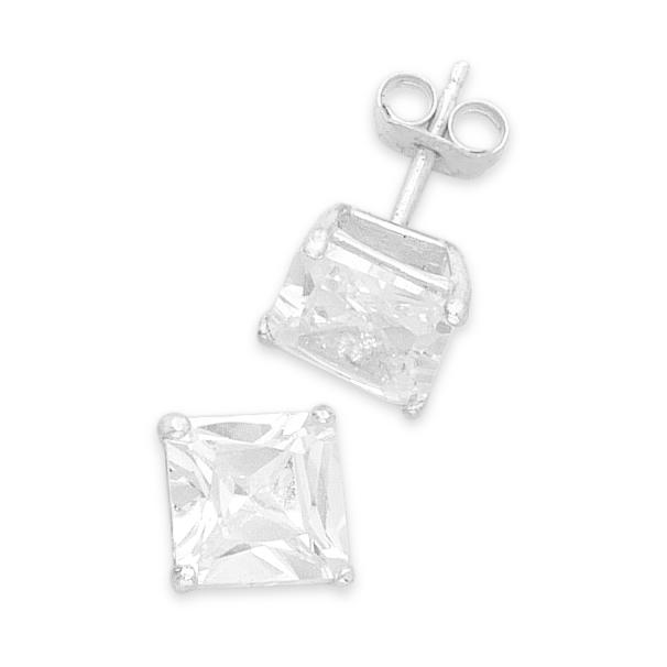 Sterling Silver 7mm Cubic Zirconia Square Earrings Earrings Bevilles