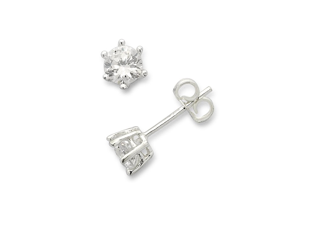 Sterling Silver Cubic Zirconia 5mm Stud Earrings