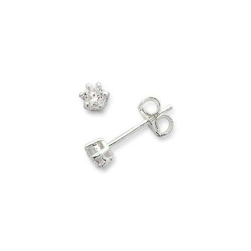 3mm Cubic Zirconia Stud Earrings in Sterling Silver Earrings Bevilles