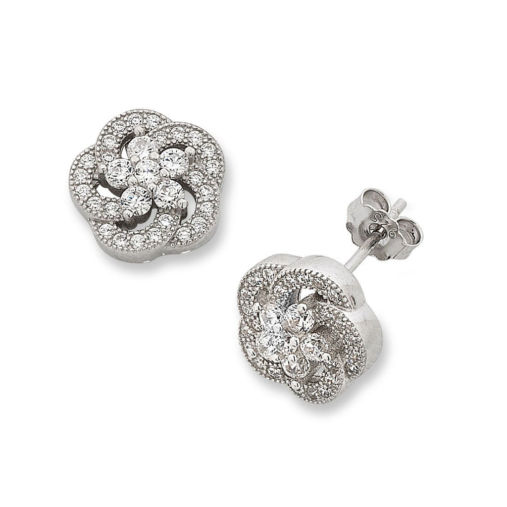 Sterling Silver Cubic Zirconia Flower Earrings Earrings Bevilles