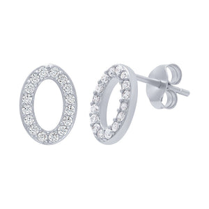 Cubic Zirconia Oval Earrings 10mm