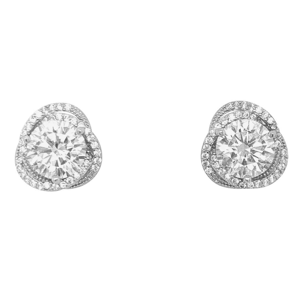 Sterling Silver Cubic Zirconia Swirl Halo Stud Earrings