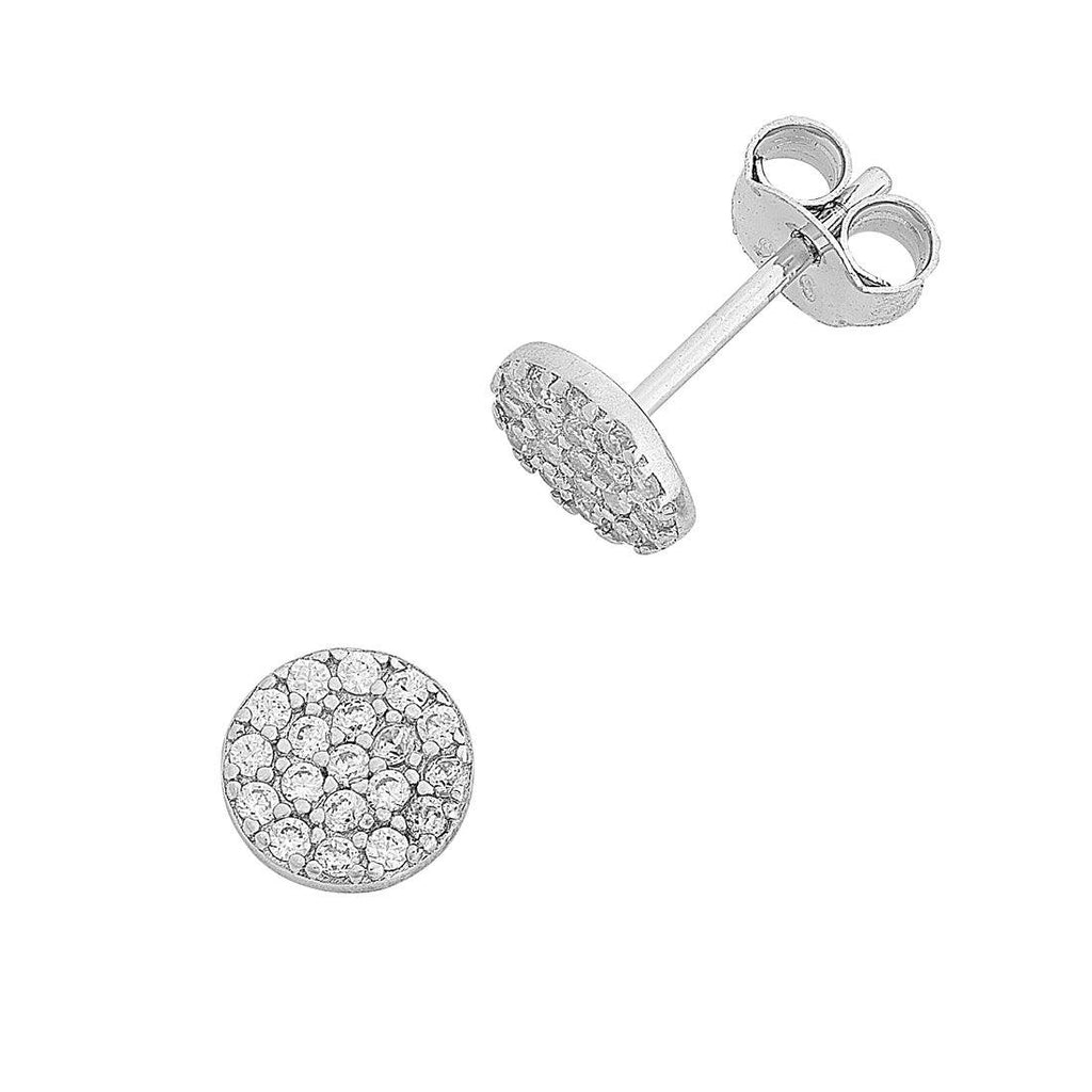 Sterling Silver Cubic Zirconia Pave Disc Stud Earrings Earrings Bevilles
