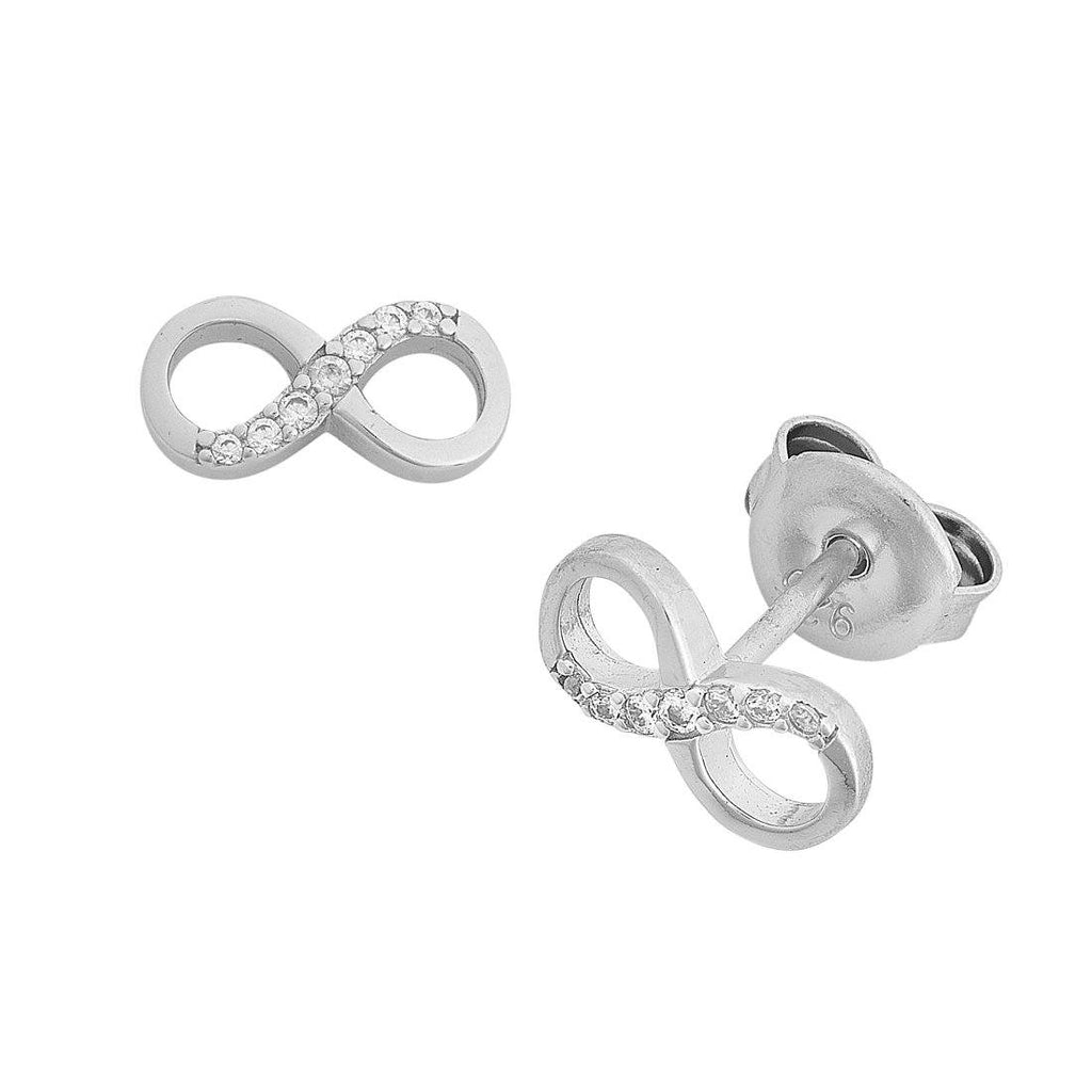 Infinity Cubic Zirconia Stud Earrings in Sterling Silver