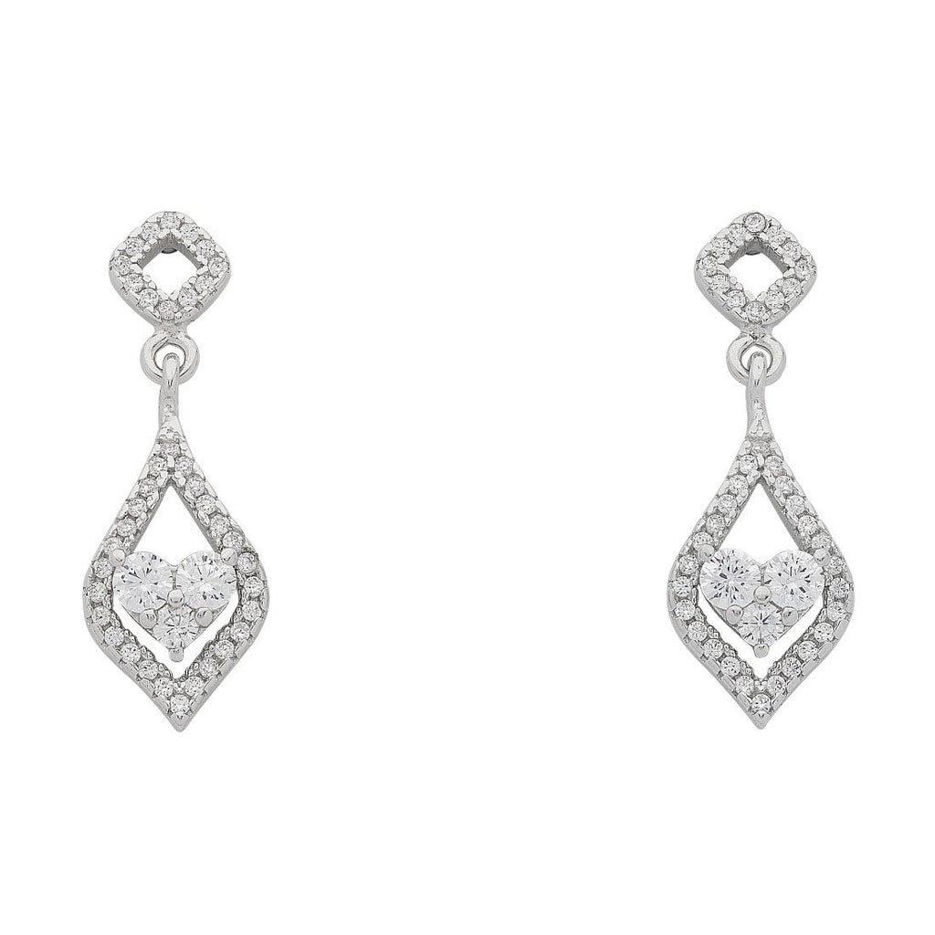 Sterling Silver White Cubic Zirconia Heart Open Marquise Surround Earrings Earrings Bevilles