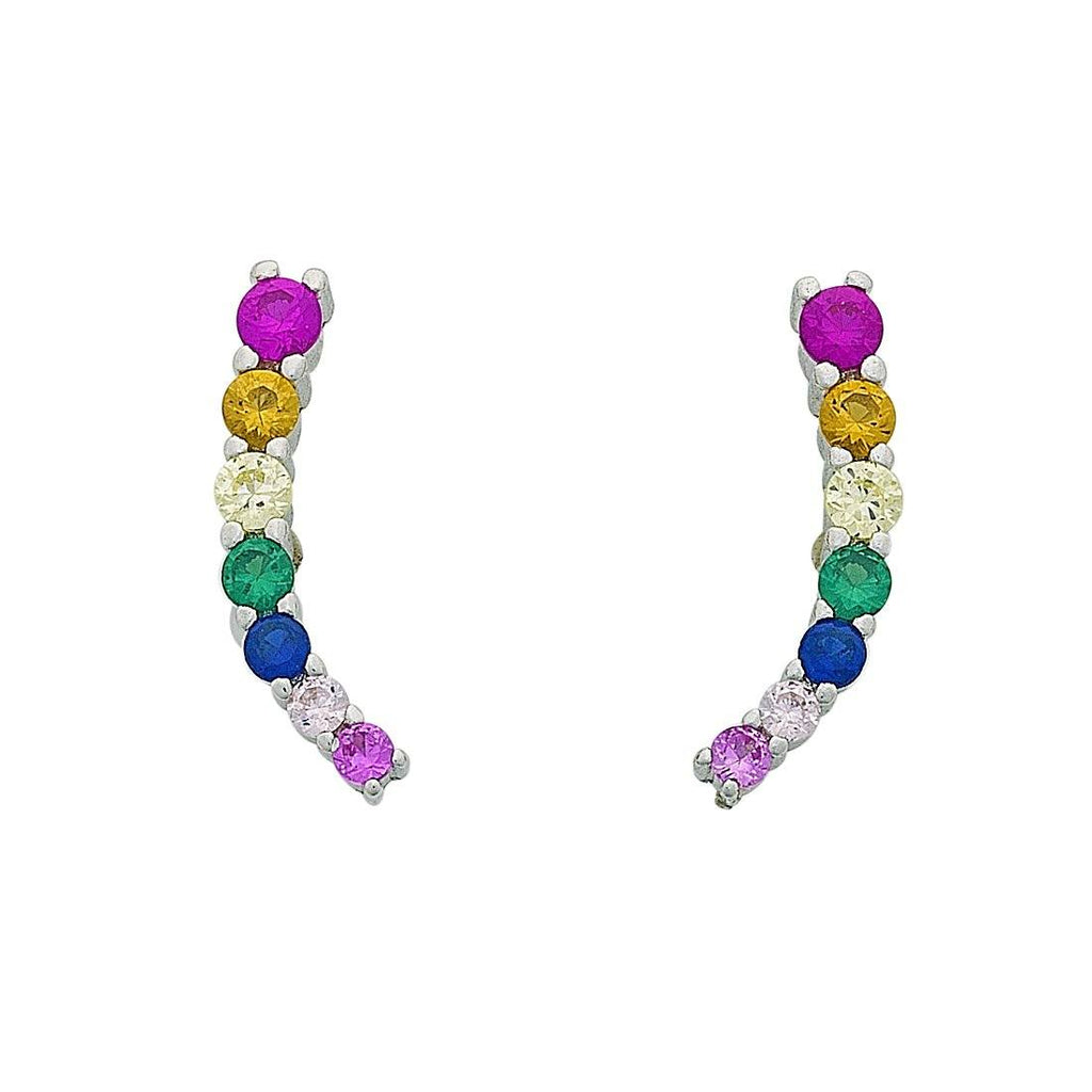 Multicolour Cubic Zirconia Climber Stud Earrings in Sterling Silver Earrings Bevilles