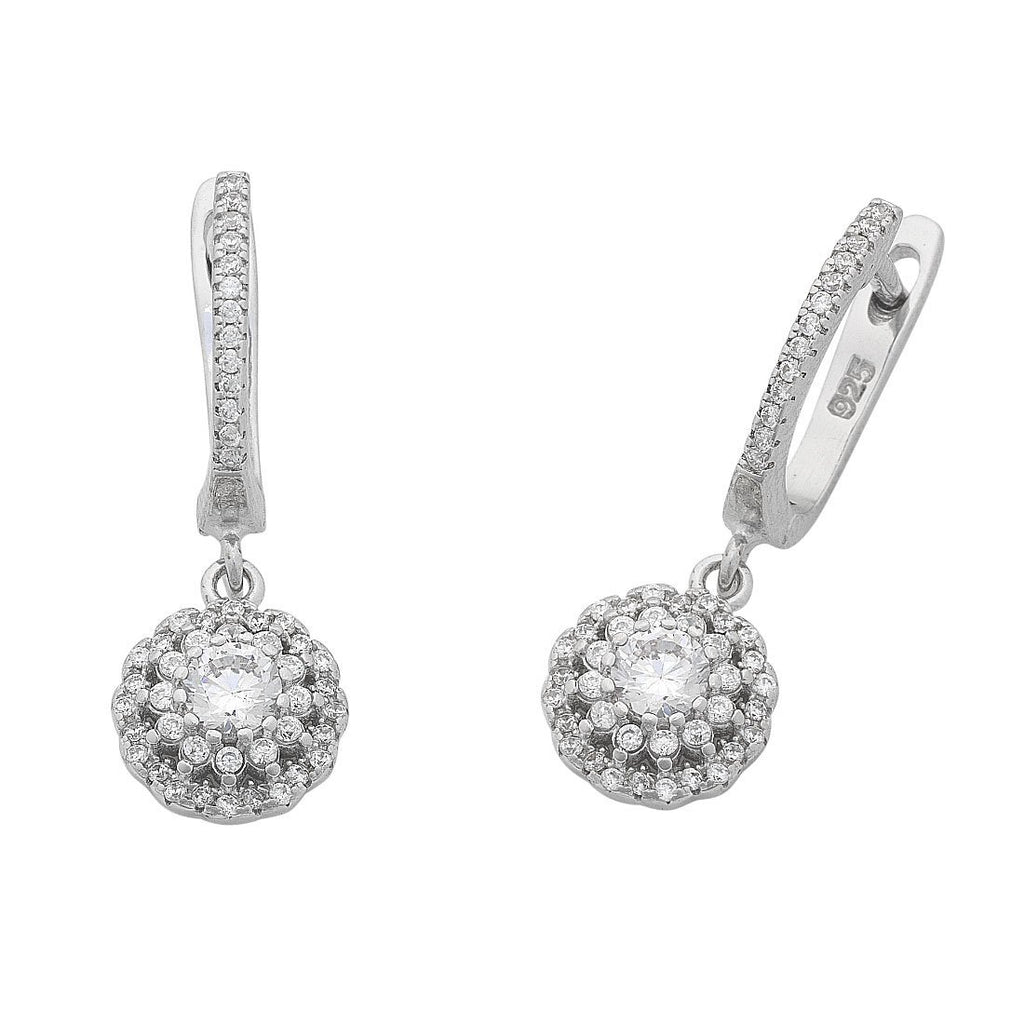 Sterling Silver Cubic Zirconia Flower Halo Earrings