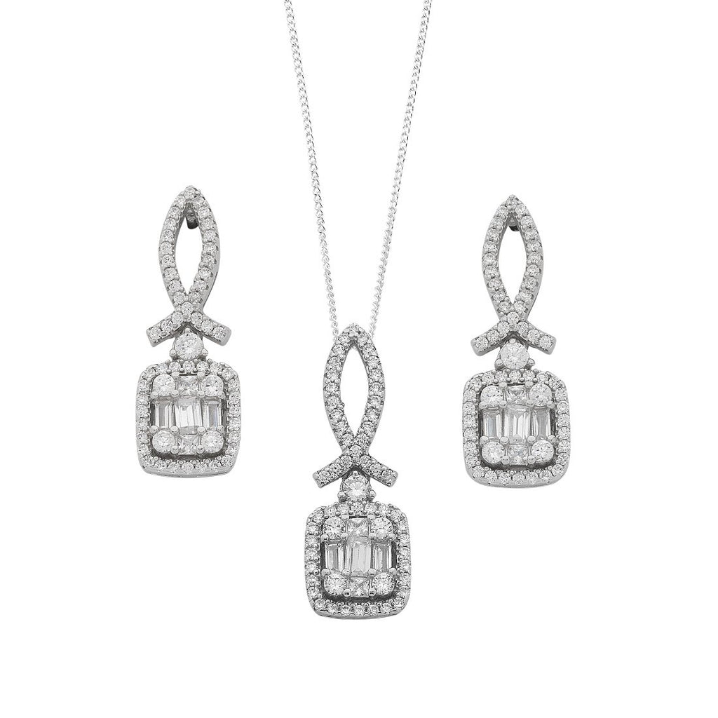 Sterling Silver Baguette Cubic Zirconia Cluster Earrings and Necklace Set