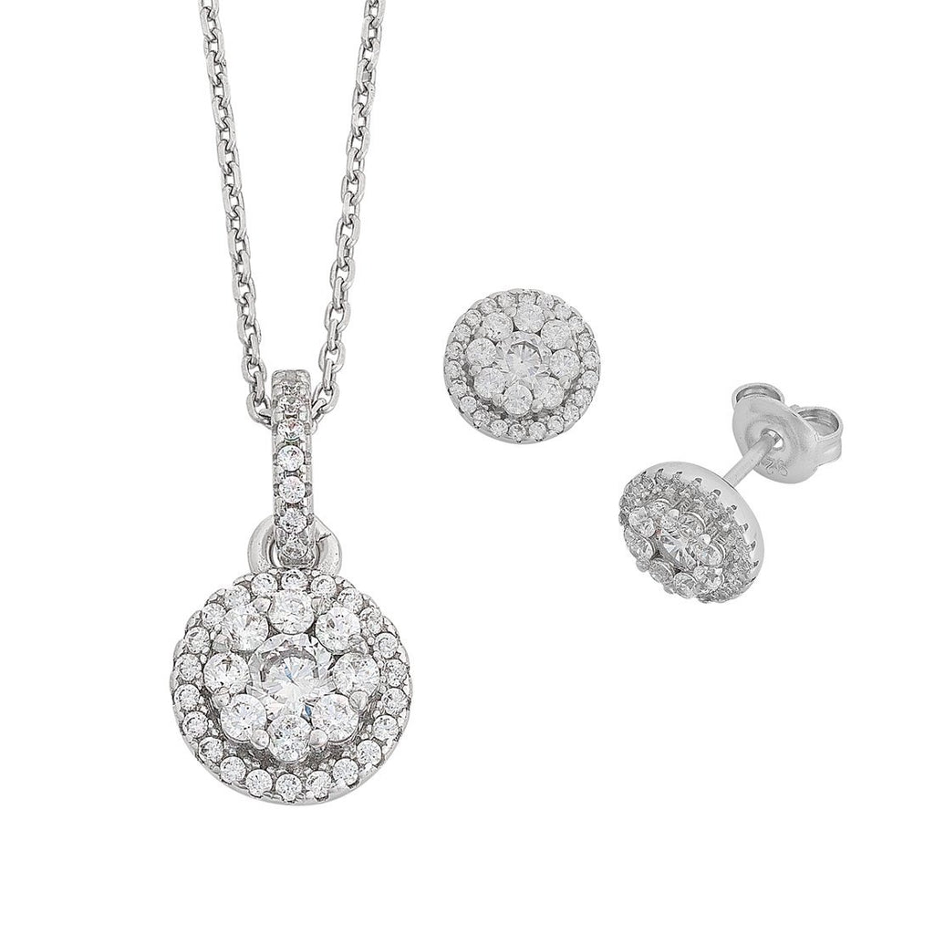 Cubic Zirconia Halo Earring & Necklace Set in Sterling Silver Necklaces Bevilles