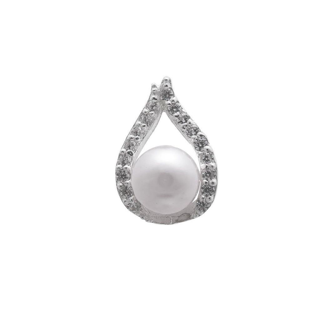 Synthetic White Pearl Necklace and Earrings Set in Sterling Silver Jewellery Sets Bevilles