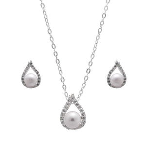 Synthetic White Pearl Necklace and Earrings Set in Sterling Silver