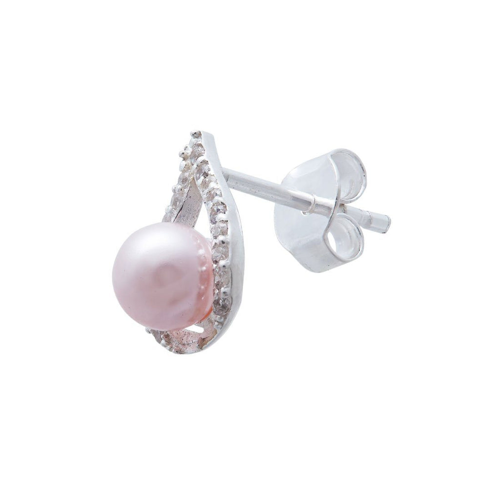Synthetic Pink Pearl Necklace and Earrings Set in Sterling Silver Jewellery Sets Bevilles