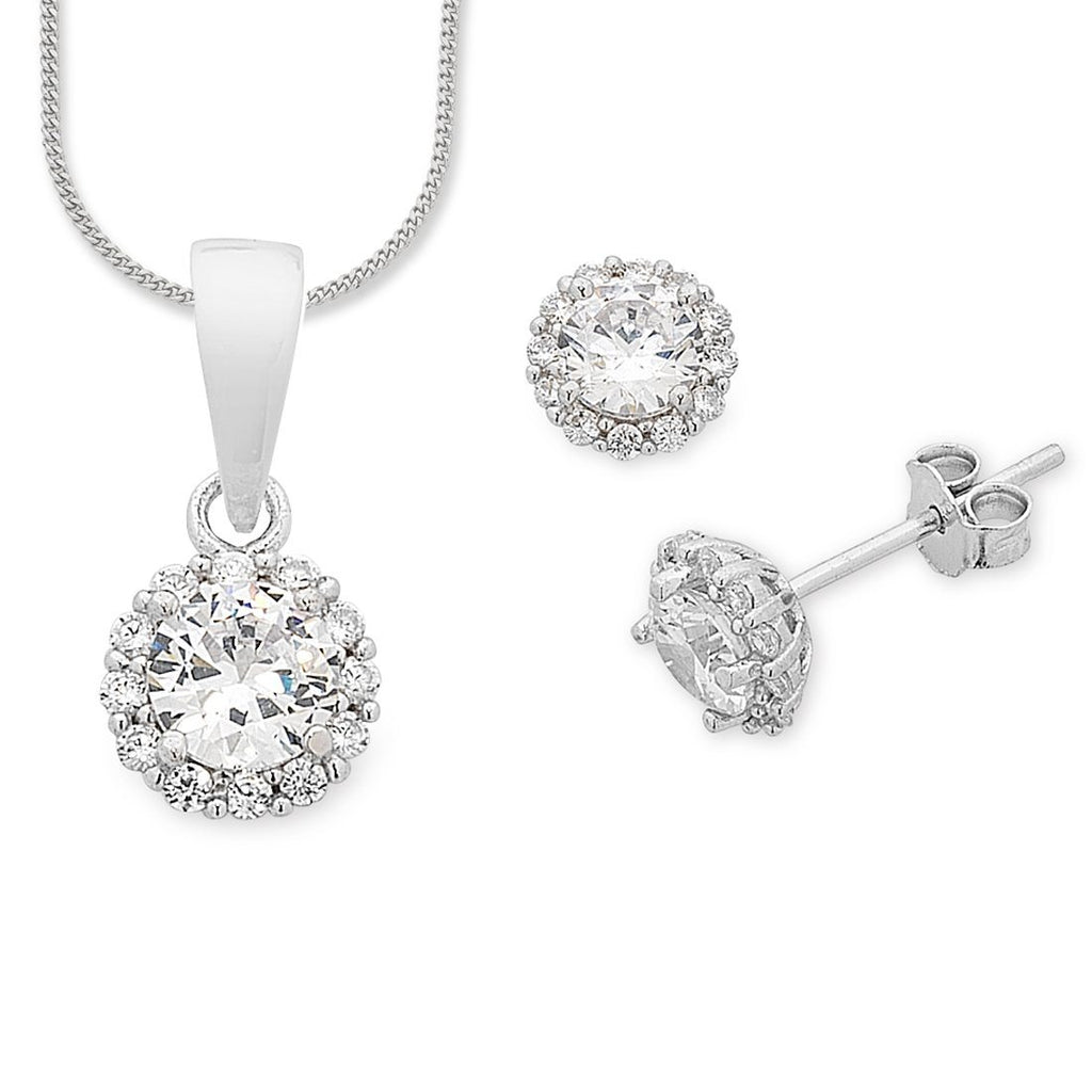Sterling Silver Necklace & Earring Set Earrings Bevilles