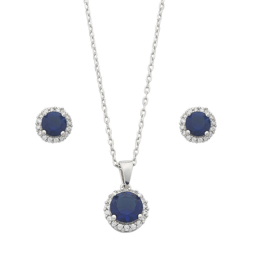 Sterling Silver Sapphire Cubic Zirconia Earrings and Necklace Set Necklaces Bevilles