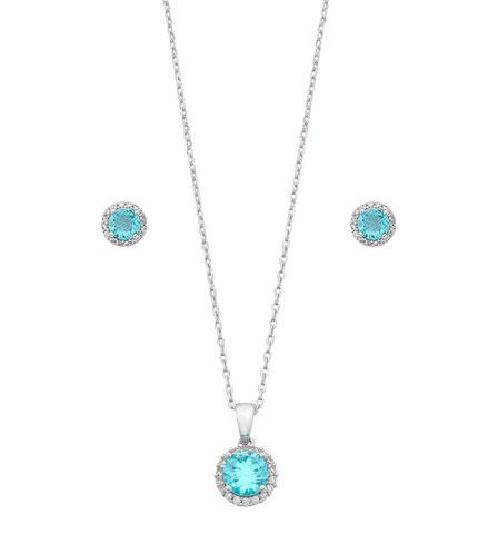 Aqua Halo Necklace and Stud Earrings set in Sterling Silver Bevilles Jewellers