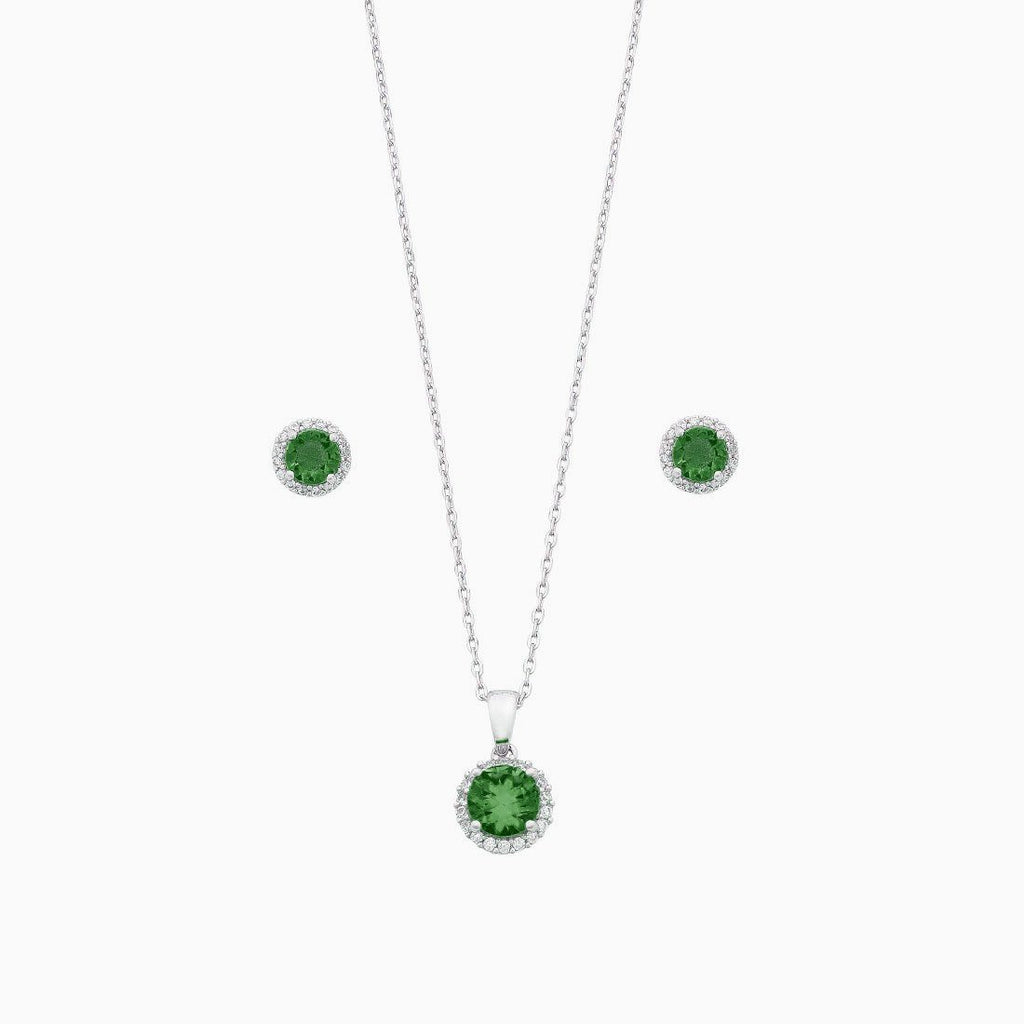 Sterling Silver with Dark Green and White Cubic Zirconia Earrings and Necklace 45cm Set Jewelley Sets Bevilles