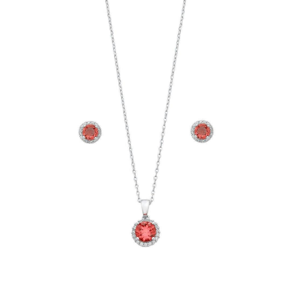 Red Cubic Zirconia Earring and Neklace Set in Sterling Silver Jewellery Sets Bevilles