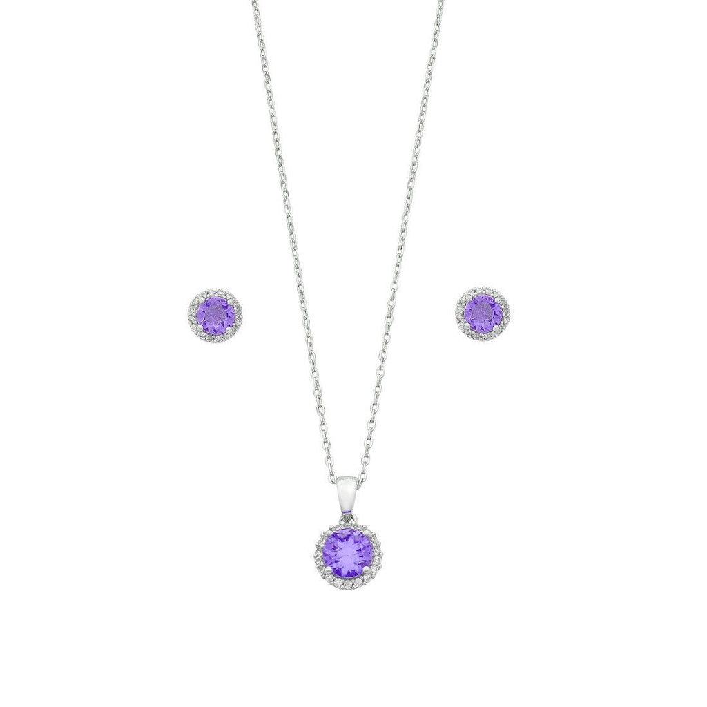 Purple Cubic Zirconia Earring & Necklace Set in Sterling Silver Jewellery Sets Bevilles