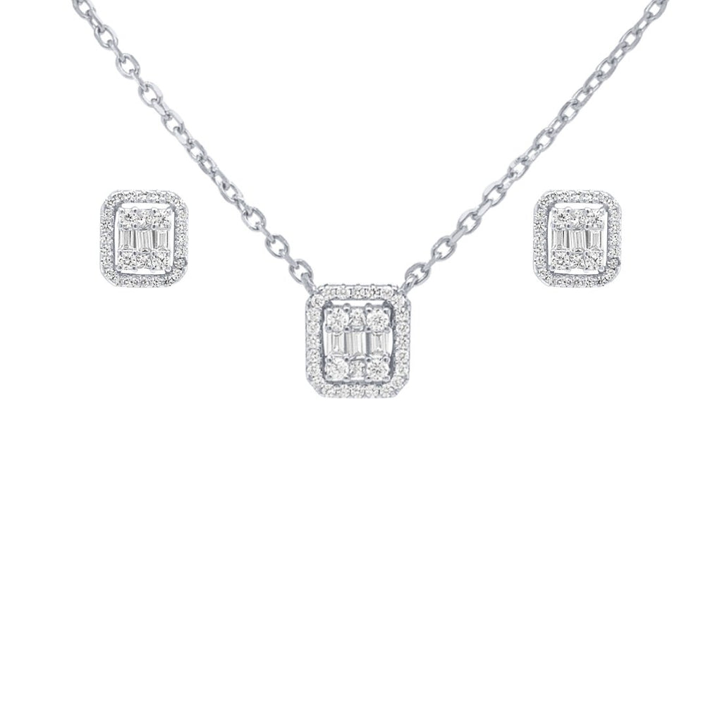 Halo Earring and Necklace Set with Cubic Zirconia in Sterling Silver Jewellery Sets Bevilles