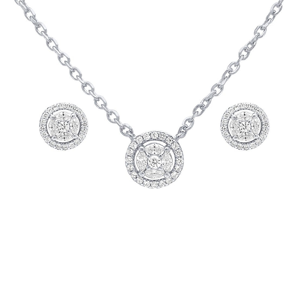 Halo Cubic Zirconia Earring and Necklace Set in Sterling Silver Jewellery Sets Bevilles