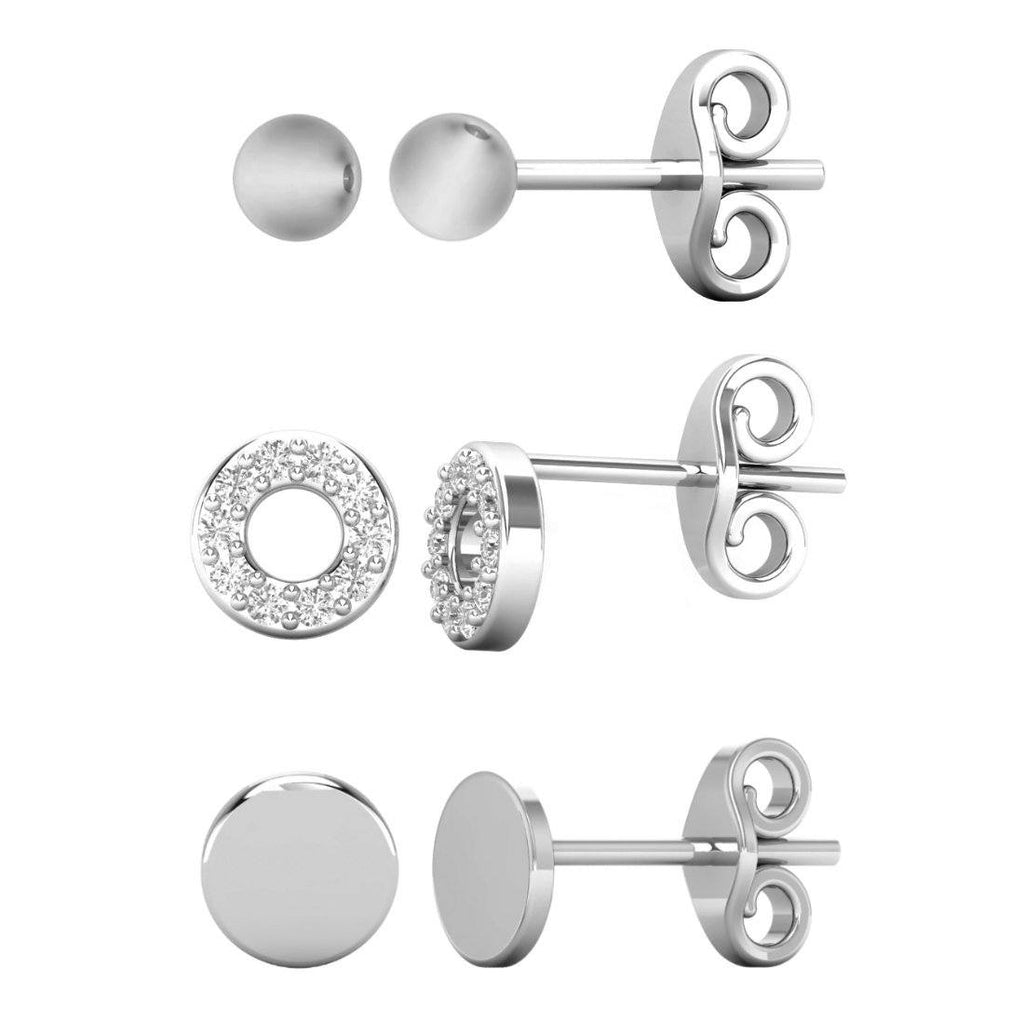 Set of 3 Sterling Silver and Cubic Zirconia Stud Earrings Earrings Bevilles
