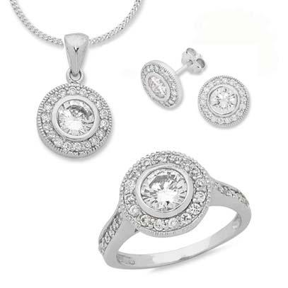 Sterling Silver Ring, Earring and Necklace Set