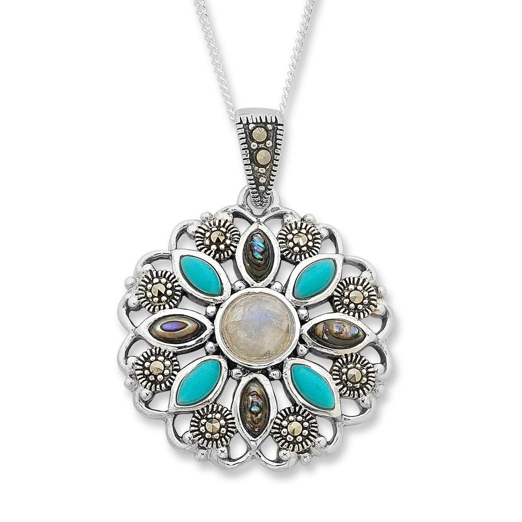 Sterling Silver Gemstone Necklace with Swarovski Marcasite