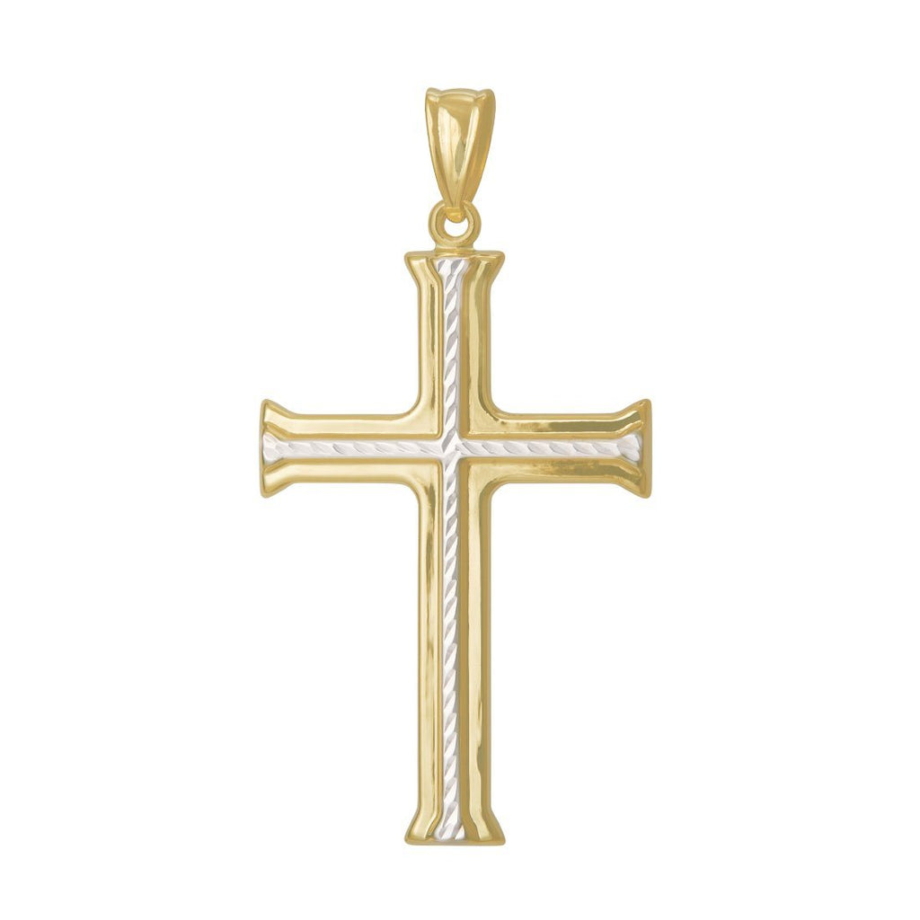 9ct Yellow Gold Two Tone Crucifix Cross Pendant Necklaces Bevilles