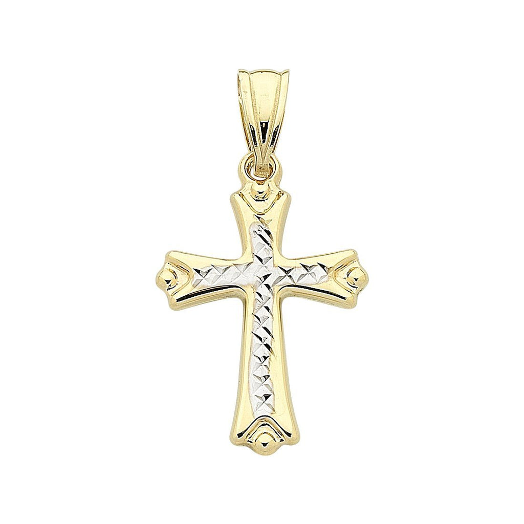 9ct Two Tone Gold Cross Pendant