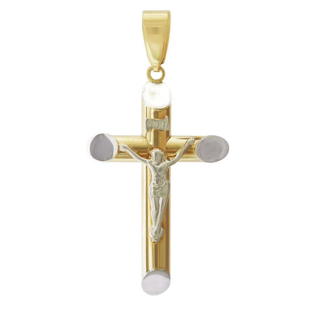 9ct Two Tone Gold Crucifix Cross Pendent Necklaces Bevilles