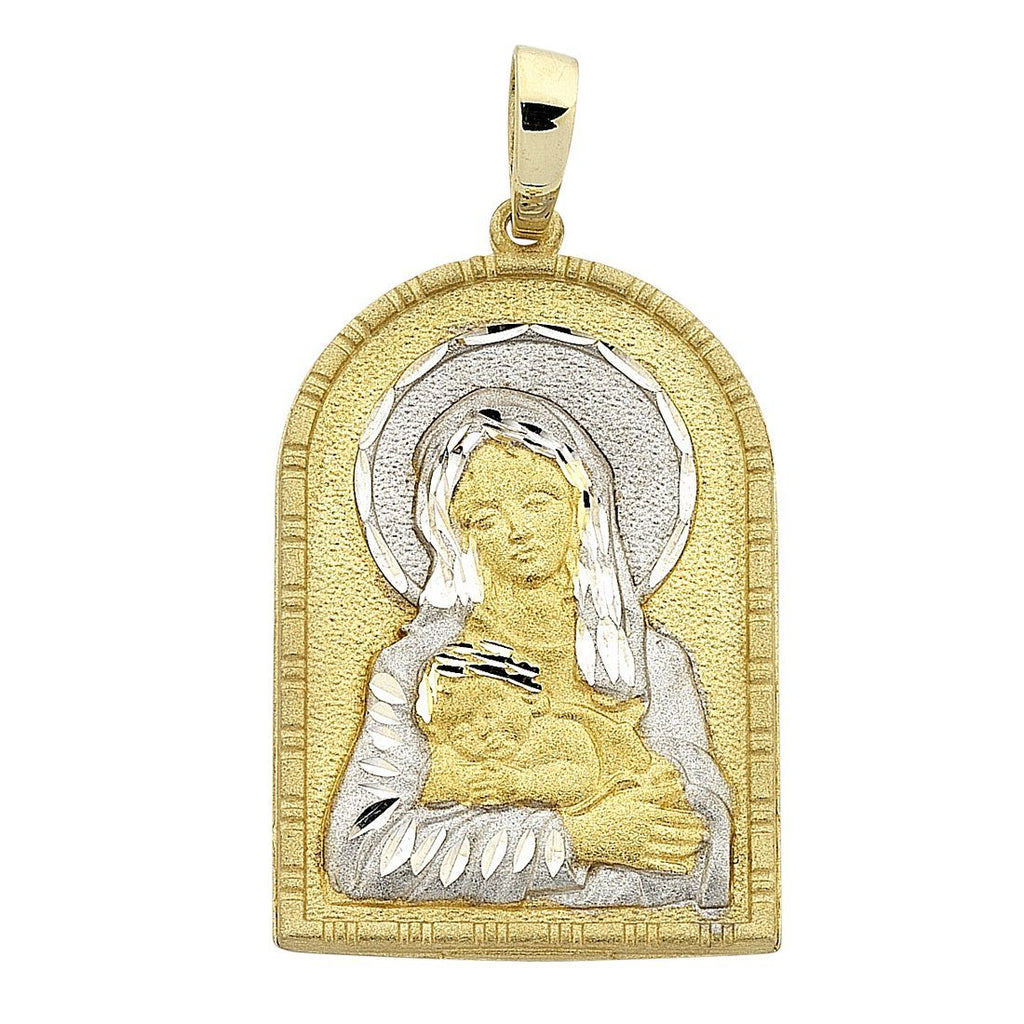 9ct Two Tone Gold Madonna In Arched Door Pendant